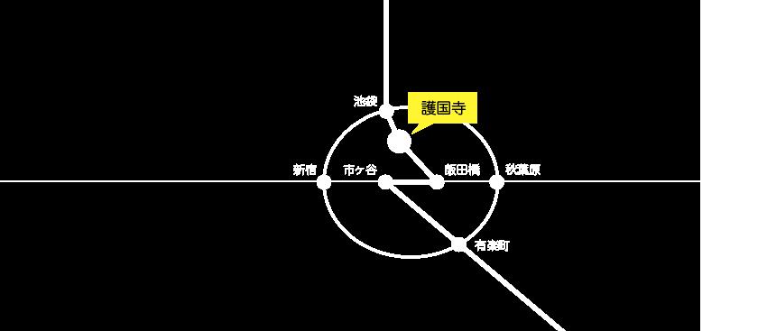 地下鉄有楽町線の護国寺駅下車。6番出口を出て左方向へ徒歩1分です。